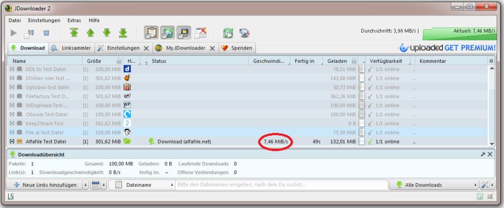 Alfafile linksnappy jdownloader2